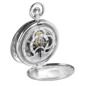 Woodford Dual Time Skeleton Full Hunter Pocket Watch With Free Engraving 1083