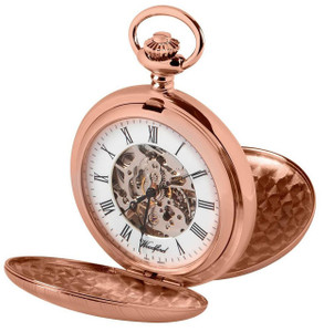 Woodford Skeleton Pocket Watch For Men Rose Gold With Chain 1090 With Free Engraving