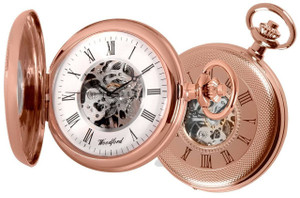 Woodford Skeleton Pocket Watch Rose Gold With Chain 1092 With Free Engraving