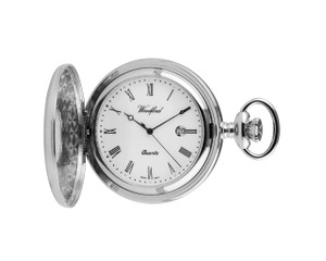 Woodford Skeleton Pocket Watch For Men Silver With Chain 1212 With Free Engraving