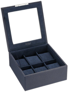 Wolf Stackable Watchbox For Up To 6 Watches In Navy