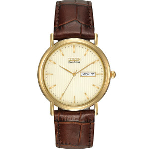Citizen Mens Eco-Drive Cream Dial Brown Leather Strap Watch BM8242-08P