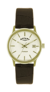 Rotary Avenger Men's Gold Tone Watch With Brown Leather Strap GS02876/03