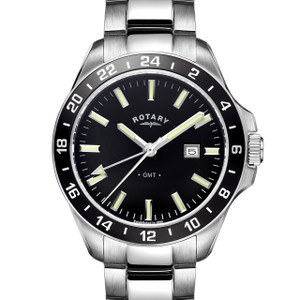 Rotary Havana Mens Black Dial Stainless Steel Watch GB05017/04