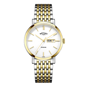 Rotary Mens Windsor Silver And Gold White Dial Watch GB05301/01