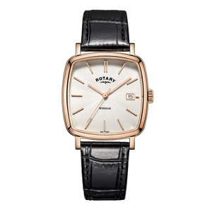 Rotary Mens Windsor Rose Gold Black Leather Strap Watch GS05309/01