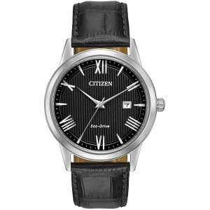 Citizen Mens Eco-Drive Black Dial And Leather Strap Watch AW1231-07E