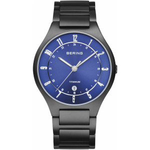 Bering Titanium Mens Blue Dial Black Bracelet Watch 11739-727