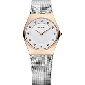 Bering Classic Ladies White Crystal Dial Rose Gold Watch 11927-064