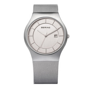 Bering Classic Mesh Bracelet Brushed Steel Watch 11938-000