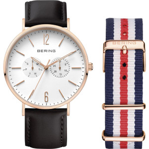 Bering Classic Mens Black Leather Rose Gold Watch 14240-464 With NATO Strap