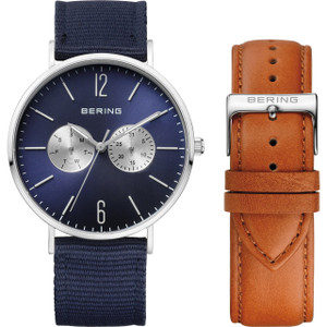 Bering Classic Blue Fabric Strap Silver Watch 14240-507 With Leather Strap