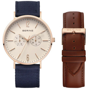 Bering Classic Blue Fabric Strap Rose Gold Watch 14240-564 With Leather Strap
