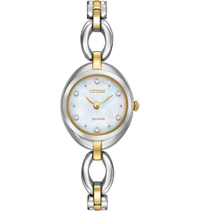 Citizen Silhouette Swarovski Crystal Ladies Two Tone Watch EX1434-55