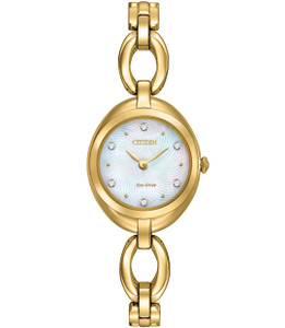 Citizen Silhouette Swarovski Crystal Ladies Gold Tone Watch EX1432-51D