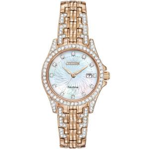 Citizen Silhouette Swarovski Crystal Ladies Rose Gold Watch EW1228-53D