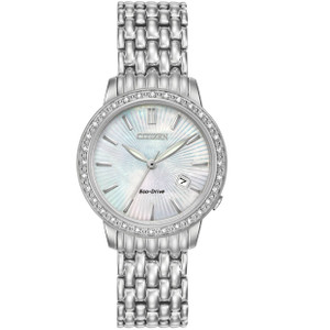 Citizen Eco-Drive Silhouette 32 Diamonds Silver White Watch EW2280-58D