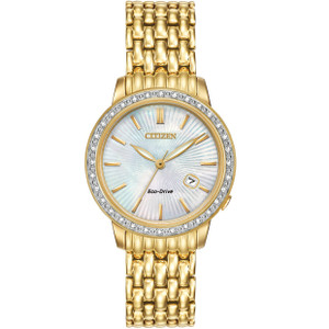 Citizen Eco-Drive Silhouette 32 Diamonds White Dial Watch EW2282-52D