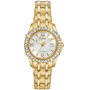 Citizen Eco-Drive Silhouette 28 Diamonds White Dial Watch EW2362-55A