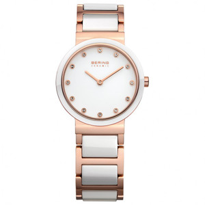 Bering Ceramic Ladies Swarovski White And Rose Gold Watch 10729-766