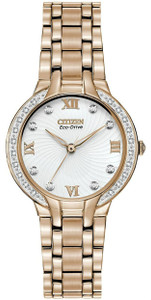 Citizen Eco-Drive Ladies Bella 28 Diamonds White Dial Watch EM0123-50A