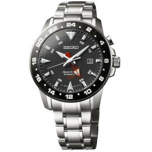 Seiko Sportura Kinetic Mens Black Dial Ceramic Watch SUN015P1