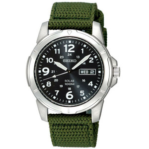 Seiko Solar Powered Green Canvas Strap Watch SNE095P2