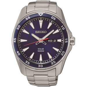 Seiko Solar Powered Blue Dial Stainless Steel Bracelet Watch SNE391P1