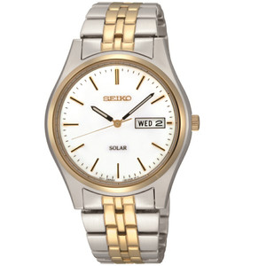 Seiko Solar Powered Mens Silver Gold Tone Dress Watch SNE032P1