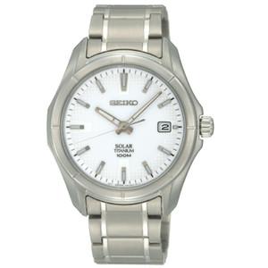 Seiko Solar Powered Titanium White Dial Casual Watch SNE139P1