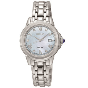 Seiko Solar Powered Diamond Dial Bracelet Watch SUT243P9