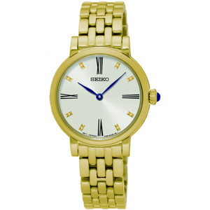 Seiko Ladies White Dial Gold Tone Bracelet Watch SFQ814P1