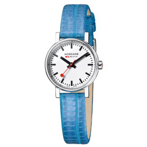Mondaine Evo Petite Ladies Blue Lizard Watch A658.30301.11SBD