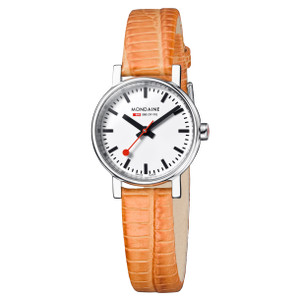 Mondaine Evo Petite Ladies Orange Lizard Watch A658.30301.11SBG