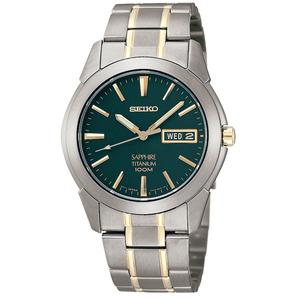 Seiko Mens Titanium Sapphire Crystal Green And Gold Watch SGG735P1