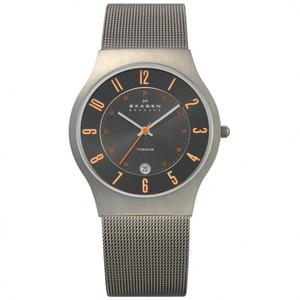 Skagen Men's Titanium Grey Orange Watch 233XLTTMO