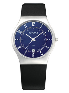 Skagen Men's Blue Dial Black Leather Strap Watch With Date 233XXLSLN