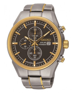 Seiko Mens Titanium Solar Powered Chronograph Watch SSC392P9