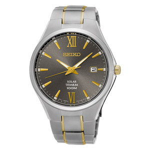 Seiko Mens Titanium Gold Solar Powered Watch SNE409P1