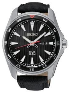 Seiko Mens Solar Powered Black Dial Watch SNE393P2