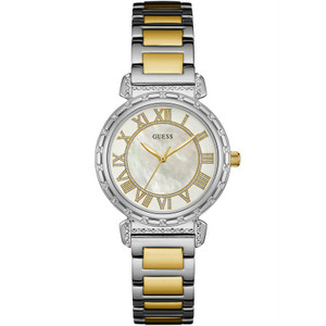 Guess Ladies South Hampton Mothr Of Pearl Gold Watch W0831L3