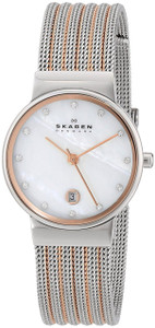 Skagen Ladies Two-Tone Striped Mesh Watch 355SSRS