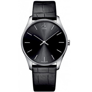 Calvin Klein Men's Classic Black Leather Strap Watch K4D211C1