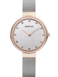 Bering Women's Rose Gold Plated Case Quartz Silver-Tone Dial Watch 12034-064