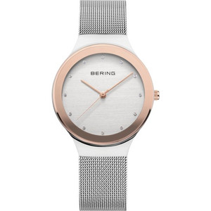 BERING SILVER AND ROSE GOLD MESH LADIES WATCH 12934-060