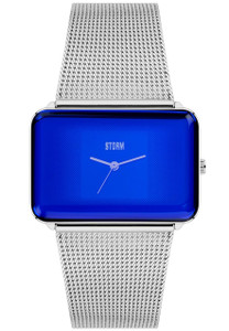 Storm Zila Lazer Blue Ladies Rectangular Raised Glass Dial Watch