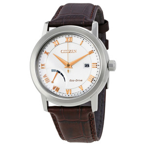 Citizen Mens Eco Drive Leather Watch With Power Reserve AW7020-00A