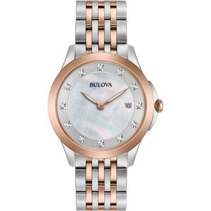 Bulova Ladies 12 Diamonds Chronograph Two-Tone Watch 98S162