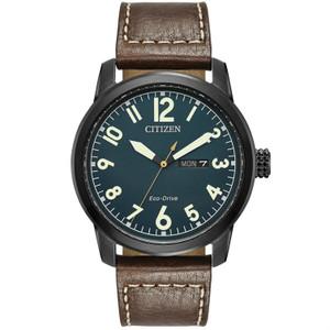 Citizen Mens Eco Drive Leather Strap Watch BM8478-01L