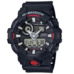 G-Shock Black and Red Accented Anologue World Time and Chronograph Watch GA-700-1AER